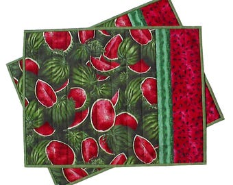 Summer Watermelon Placemats pair, handmade picnic fruit food July quilted, 14 x 17