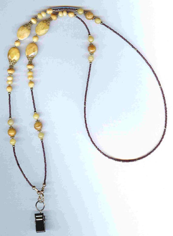 Faceted Gemstone Aragonite & Banana Calcite Beaded ID Badge Lanyard or Eyeglass Chain