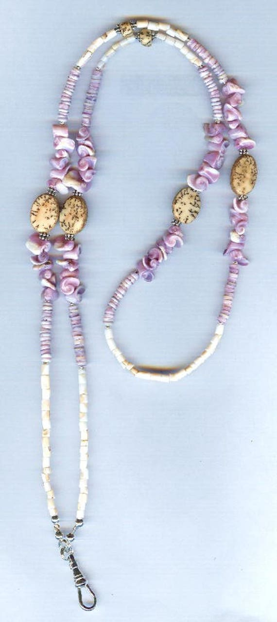 Hawaiian Inspired Pink Mosaic & Lavender Shell Bead ID Badge Lanyard or Eyeglass Chain