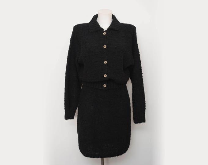 Vintage dead stock 90s black jacket and skirt set