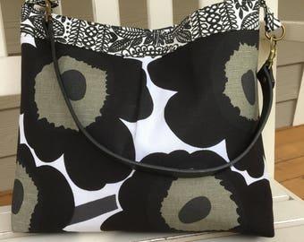 Black Marimekko Fabric Handbag