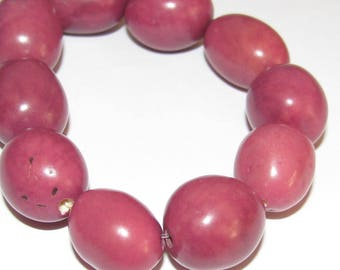 10 Plummy Purple Tagua Nut Beads, Oval Beads, Organic Beads, Natural Beads, Vegetable Ivory Beads, EcoBeads
