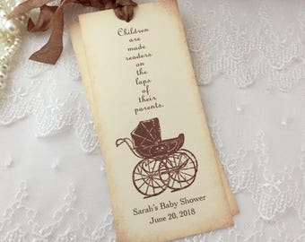 Baby Shower Bookmark Favors Neutral Carriage Set of 10