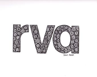 RVA Framable Print Richmond Lovers created from Original Art work by Dawn Kowal