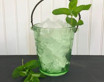 Depression Glass Ice Bucket  Etched Flowers and Metal Bail