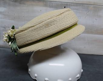 Vintage Sheldon Model Hat, Wicker Style Hat, Mod Hat, Retro Hat, Church Lady Hat