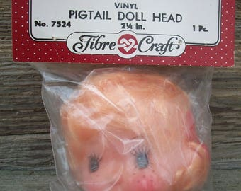Vintage FibreCraft 2 Inch Plastic Vinyl Doll Head: Blonde Pigtail Girl