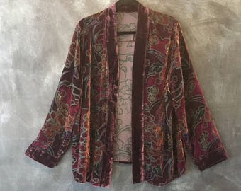 Vintage kimono Velvet Burn Silk Out Cherry Blossom Deep Purple Duster Robe Cardigan Boho Hippie OSFM