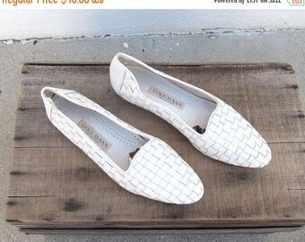 20% Off Sale 1990s Cole Haan White Woven LeatherLoafers Driving Shoes Ladies Size 9.5N