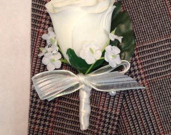 Artificial Ivory Rose Boutonniere, Silk Ivory Bout
