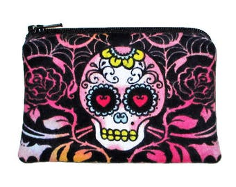 Gothic Day of the Dead Sugar Skull Small Zipper Pouch Coin Change Purse