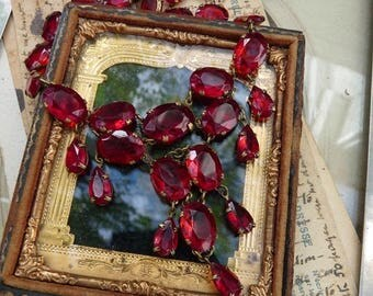 Antique Faceted Red Glass Paste Necklace, offered by RusticGypsyCreations