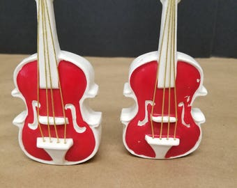Vintage Pair of Guitar Salt and Pepper Shakers