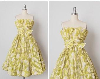 30% OFF SALE vintage 1950s dress / 50s pleated dress / Neiman Marcus dress / Lime Petal dress