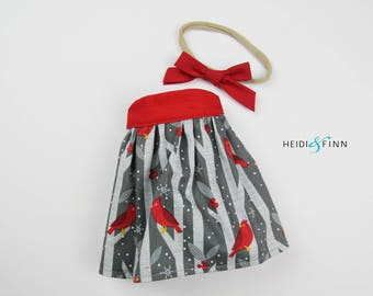 LIMITED holiday stuffed doll Mini Pals OUTFIT - birch bird dress and headband set rag doll clothing