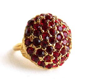 Vintage Heavy Gold Dome Cocktail Ring - Over 50 Bright Ruby Red Rhinestones - Statement Ring - Mid Century - Adjustable
