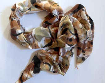 Hand painted silk scarf in abstract neutral tones