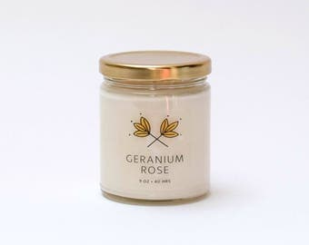 Geranium Rose Soy Candle Jar - 9 oz - all natural, eco-friendly 100% soy wax candle