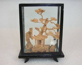 Vintage Asian Cork Art Oriental Cork Diorama Small Miniature Made in China