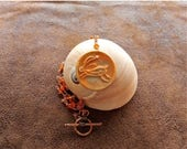 SALE Tribal Bunny Pendant Carnelian Nugget Copper  Necklace