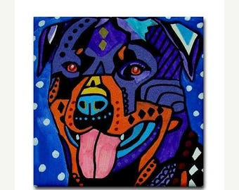 45% Off Today- Rottweiler art Tile Ceramic Coaster Mexican Folk Art Print of painting by Heather Galler dog