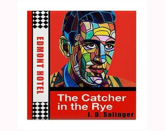 Jerome David Salinger Book Lover Art Tile by artist Heather Galler JD Salinger American writer novel The Catcher in the Rye