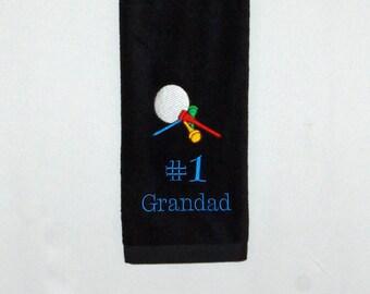 Grandad Golf Towel, Custom Golfing Gift, Personalized With Name, Poppy, Oma, Gramp, Pop, Mom, Buddy, PawPaw, Dad, No Shipping Fee, AGFT 1074