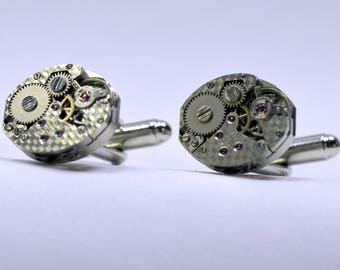 Steampunk Cufflinks with textured swiss made watch movements, ideal gift for a wedding anniversary or birthday 61