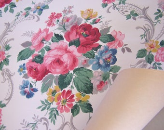 Vintage Wallpaper c1940 Roses Pink Red Blue Flowers Gray Scrolls DIY per yard SVF Shabby Cottage Decor Repurpose Romantic Home