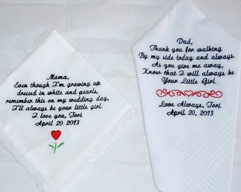 25 words or less - Personalized wedding handkerchief with machine  embroidered words - men or women's
