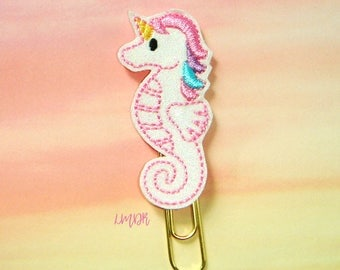 Seahorse Unicorn Glitter Paperclip Planner Clip in pastel