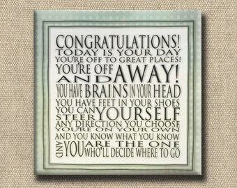 Congratulations Quote - Dr. Seuss Print Contemporary Cafe Mount soft green white - 6x6 Art Block - Today is your Day