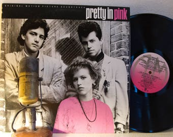 "ON SALE Pretty in Pink Vinyl Soundtrack Record 1980s Comedy Teenage Love Crush ""Pretty In Pink"" (PINK Label 1986 A&M w/""Pretty In Pink"") Bra"