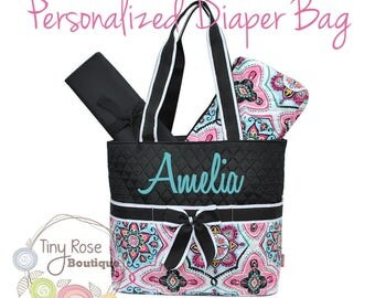 Personalized Diaper Bag -Floral Ikat Monogrammed Baby Tote, Changing Pad, Mommy Bag