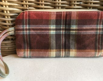 RED and brown plaid WAXED CANVAS wristlet/clutch purse: green pockets | blue and gold patterned cotton lining