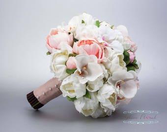 brautstrau pfingstrosen calla lilien cymbidium orchidee rosa. Black Bedroom Furniture Sets. Home Design Ideas