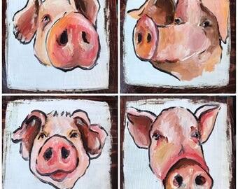 Pig coasters, set of four