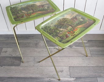 Two Mid Century Printed Fiberglass TV Trays with Apple Harvest Scene