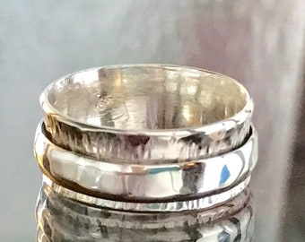 RESERVED for Alastair Men's Spinner Ring in Sterling Silver Size 10