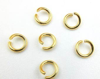 50PCS 24K Gold Plated 304 Stainless Steel Round Open Jump Rings 0.5x3.5mm/ 0.7x4mm/ 0.8x6mm/ 1.0x6mm