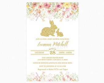 Bunny Rabbit Baby Shower Invitation, Spring Flowers, Gold Glitter Rabbits, Personalized, Printable or Printed