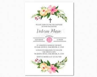 Botanical Floral Baptism Invitation, Floral Christening Invitation, Pink Watercolor Flower Bouquets, Personalized, Printable or Printed