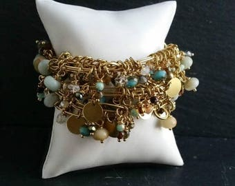 50 PERCENT OFF Yellow Gold Brass Multi Row Charm Bracelet with Brown Turquoise  Beads and Herkimer Quartz Wire  Wrapped Tags and Charms