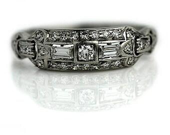 Vintage Wedding Band .52ctw Antique Wedding Ring Platinum 1950s Vintage Diamond Wedding Band Art Deco Wedding Band Round Baguette Band!