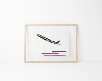 Plane Print, Wanderlust Print, Travel Art, Red and Pink Decor - Take to the Air