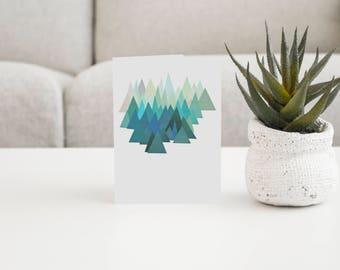 Mountain Card, Abstract Mountain Art, Blank Greetings Card - Cold Mountain