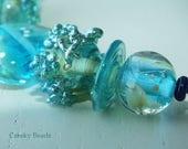 "Handmade Lampwork beads ""Tuquoise pool "" - Creeky Beads SRA"