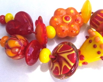 Summer Mix - Handmade Lampwork Bead Set (16) by Anne Schelling, SRA
