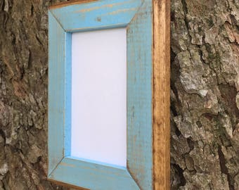 5 x 7 Wood Picture Frame, Baby Blue Rustic Weathered with Routed Edges, Home Decor, Rustic Wooden Frame, Rustic Home Decor, Rustic Frames