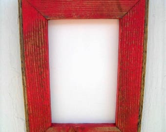 85 x 11 picture frame red rustic weathered style with routed edges rustic home